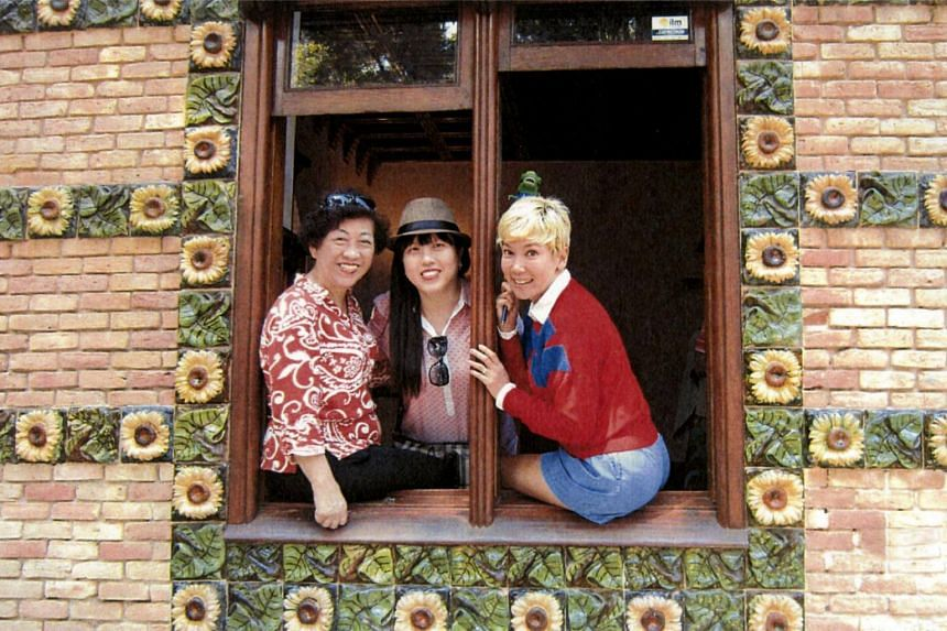 Madam Tan Lay Hwa and her daughter Jacqueline Chong with actress-host Kym Ng (right) at El Capricho, a villa in northern Spain designed by Antoni Gaudi, in 2016.