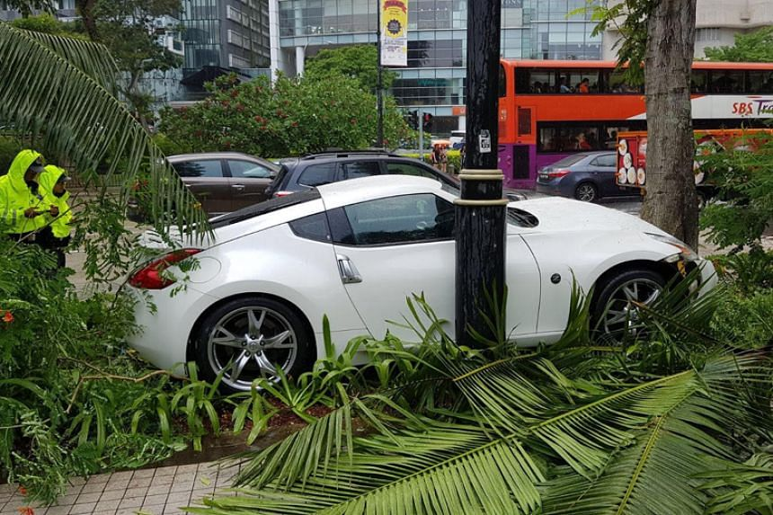 Photos sent to citizen journalist website Stomp show the white car on the kerb with its front bumper dislodged on impact with the tree.