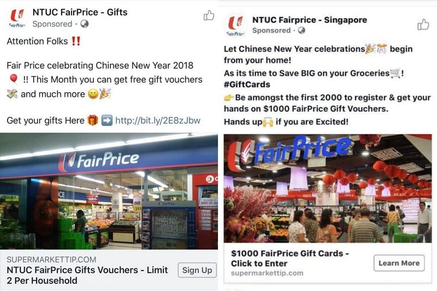 Several posts from the fake page had claimed that FairPrice was offering customers free gifts and vouchers, as part of the Chinese New Year celebrations or its 45th anniversary.