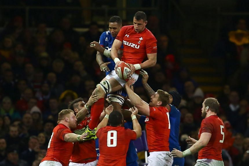 Wales' flanker Aaron Shingler catches the ball from a line out during the Six Nations match.