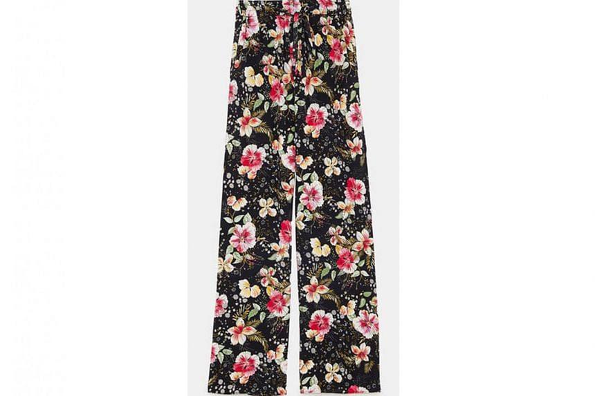 Zara floral-print trousers, $89.90