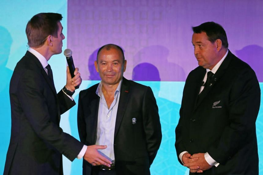 (From left) Alex Payne of Sky Sports interviews England head coach Eddie Jones and New Zealand head coach Steve Hansen during the Rugby World Cup 2019 Pool Draw at the Kyoto State Guest House on May 10, 2017.