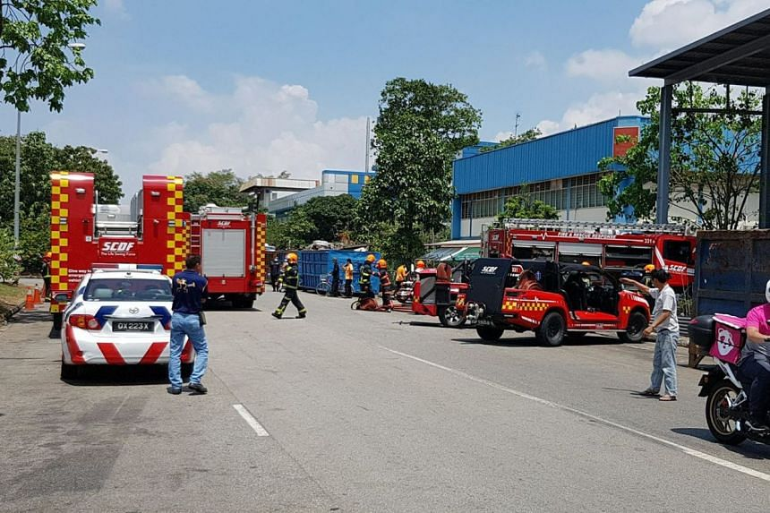 The fire was put out by SCDF firefighters using two foam jets and a monitor, a high-pressure water jet.
