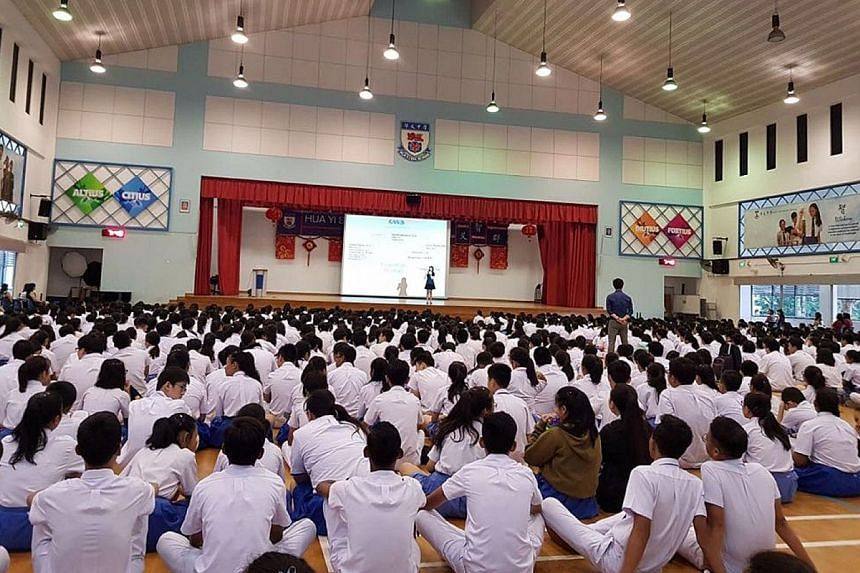 A Global Water-crisis Awareness (GWA) International Movement seminar at Hua Yi Secondary School. GWA founder Venezia Wee, a Singapore Management University law undergraduate, hopes to spread awareness in Singapore about the water crisis.