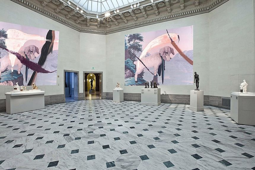A rendering (left) of artist Julian Schnabel's (above) installation at the Legion of Honour museum in San Francisco.