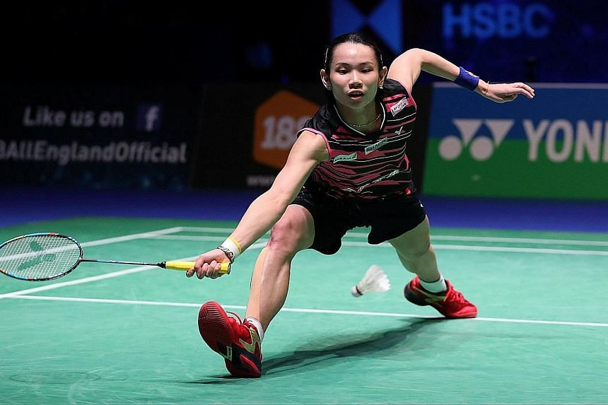 World No. 1 Tai Tzu-ying on her way to beating Akane Yamaguchi, the World Super Series title holder, 22-20, 21-13 in yesterday's All England final.