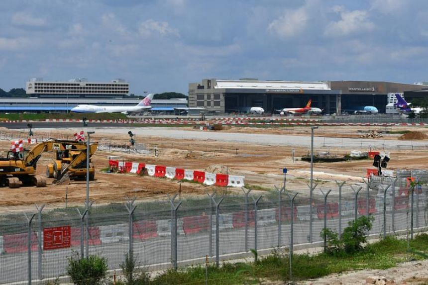 Construction site of the new taxiway at Changi Airport Terminal 5 on Nov 22, 2017.