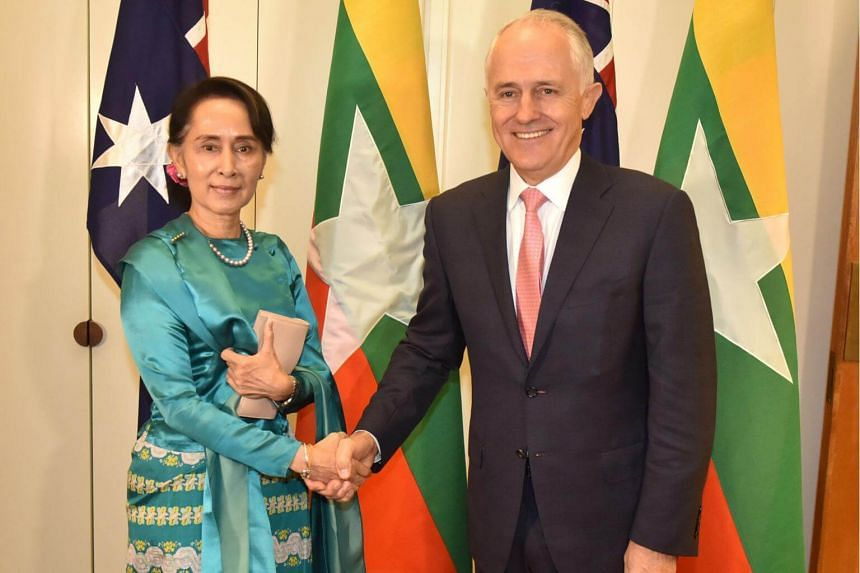 Myanmar's State Counsellor Aung San Suu Kyi with Australian Prime Minister Malcolm Turnbull in the Parliament House, Canberra, on March 19, 2018.