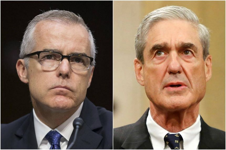 Former US Deputy Andrew McCabe (left) and special counsel Robert Mueller.