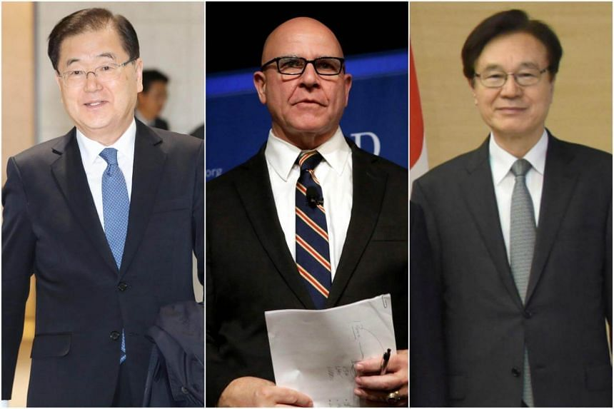 (From left) South Korea's National Security Office chief Chung Eui Yong met US National Security Adviser H.R. McMaster and Japan's National Security Adviser Shotaro Yachi on March 17-18.