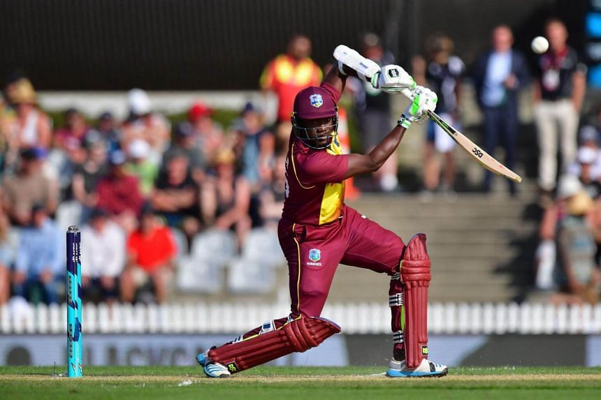 West Indies batsman Jerome Taylor plays a shot during the first Twenty20 international cricket match between New Zealand and the West Indies at Saxton Oval in Nelson, on Dec 29, 2017.