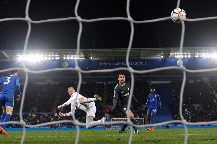 Chelsea's Pedro scores their second goal at King Power Stadium, Leicester, Britain on March 18, 2018.