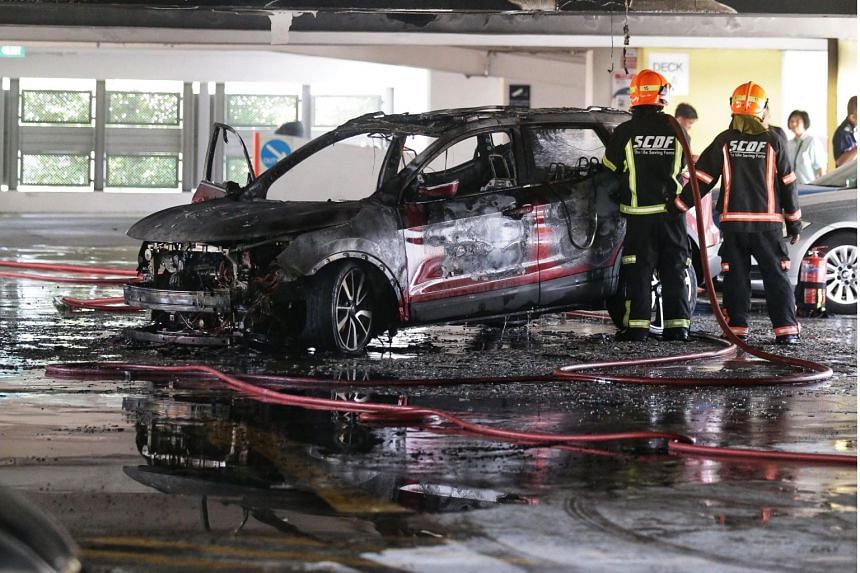 The fire, which involved the engine compartment of a car, was extinguished by SCDF using two water jets and a compressed air foam backpack.