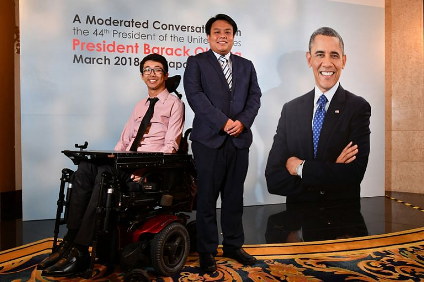 Mr Wong Zi Heng (left) and Mr Delane Lim (right), two millennials interviewed for The Straits Times' Generation Grit series, were invited by Bank of Singapore to listen to a talk by former US President Barack Obama.