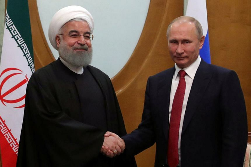Iranian President Hassan Rouhani and Russian President Vladimir Putin at a meeting in Sochi, Russia, on Nov 22, 2017.