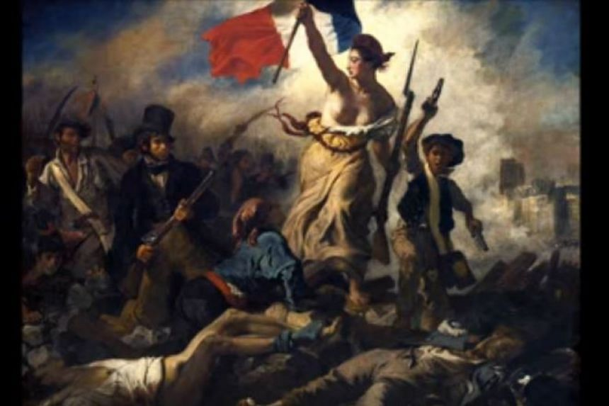"""French artist Eugene Delacroix's famous work """"Liberty Leading the People"""" was featured in an online campaign for a play showing in Paris when it was blocked on Facebook."""