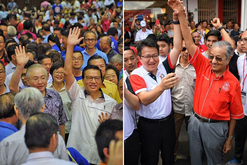 (Left) Transport Minister and Malaysian Chinese Association president Liow Tiong Lai (right) with MCA deputy president and Ayer Hitam's three-time MP Wee Ka Siong before a party rally in Johor Jaya yesterday. (Right) Former Malaysian prime minister a