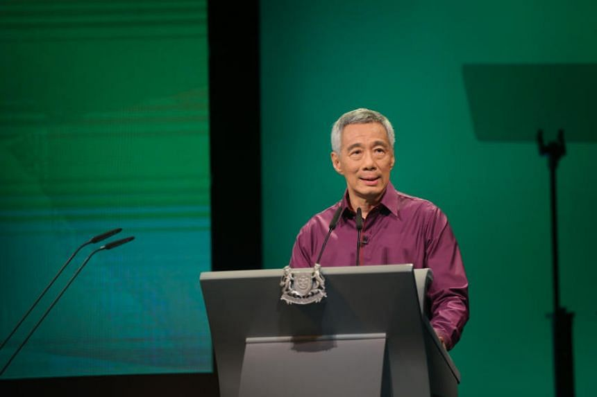 Prime Minister Lee Hsien Loong speaks at the National Day Rally, on Aug 20, 2017.