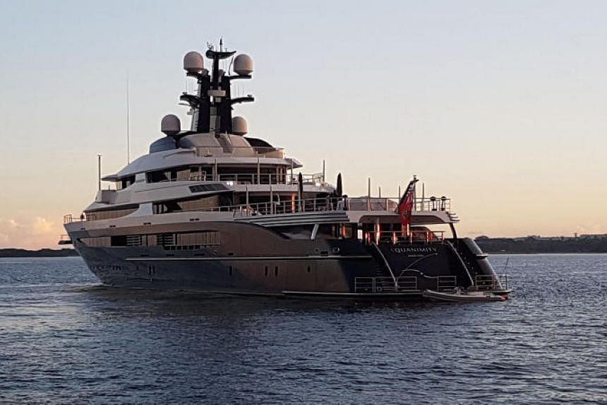 A seized luxury yacht, which US officials have said was owned by Malaysian financier Jho Low, is seen in Bali on Feb 28, 2018.