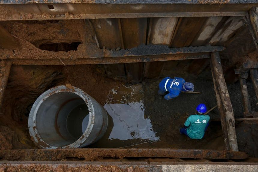 The Sanitary Sewage System installation works in the municipality of Curitibanos, Santa Catarina, Brazil, on March 15, 2018.