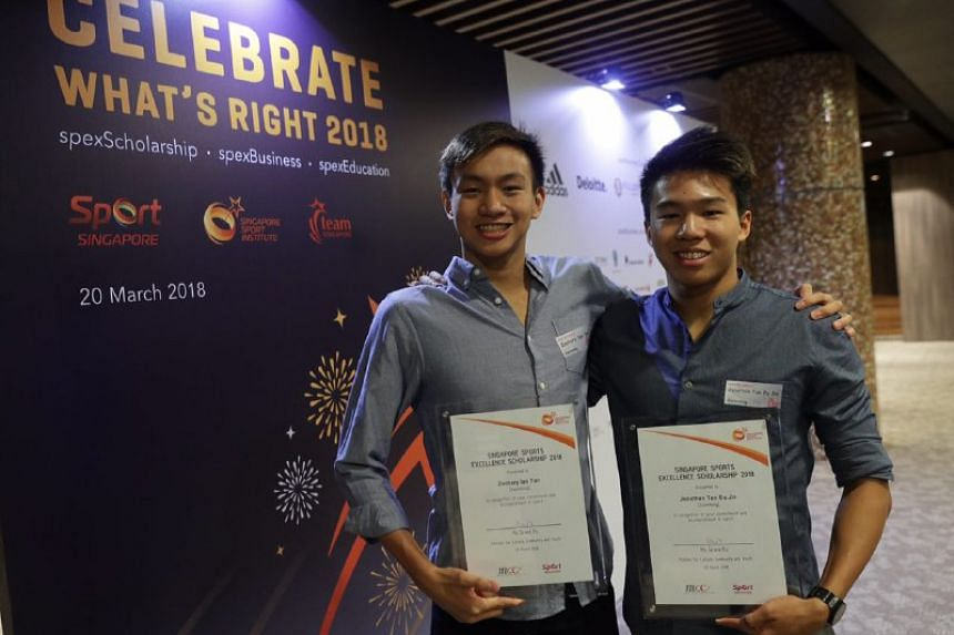 Swimmers Zachary Ian Tan and Jonathan Tan were among the recipients of the scholarship.