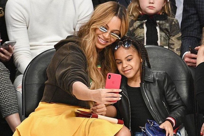 Beyonce and Blue Ivy Carter at the NBA All-Star Game at Staples Center in Los Angeles in February.