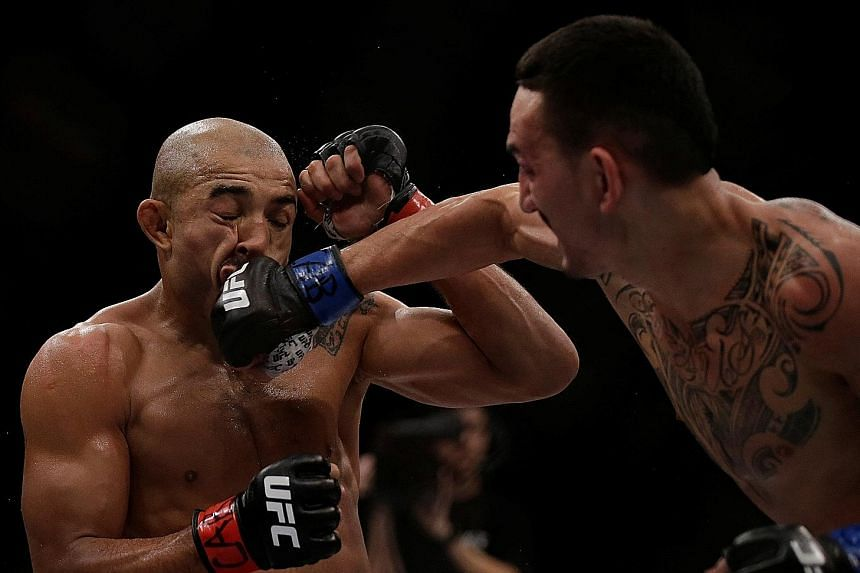 American Max Holloway giving Jose Aldo a tough time at UFC 212 in Rio de Janeiro last June. Two losses to Holloway have dented the Brazilian's reputation and he is eager to prove that he can still contend at the top level.