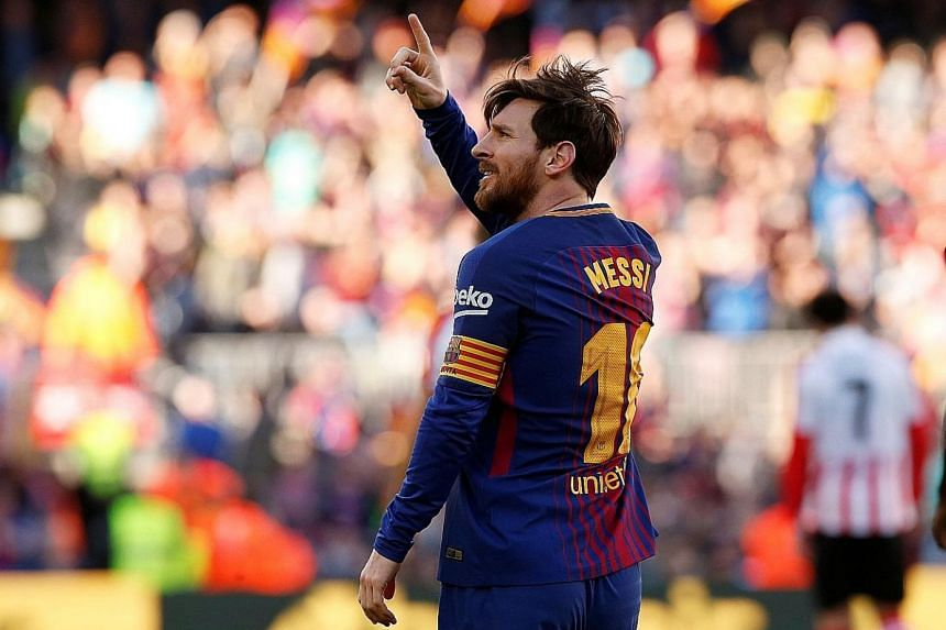 Lionel Messi after scoring Barcelona's second goal in the 2-0 win against Athletic Bilbao on Sunday. His focus is on the World Cup.