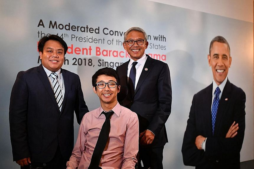 Above: (From left) Mr Delane Lim, executive director of the Character and Leadership Academy, and Mr Wong Zi Heng, a trainee teacher, with Bank of Singapore chief executive Bahren Shaari. Mr Bahren invited the pair to hear former US president Barack