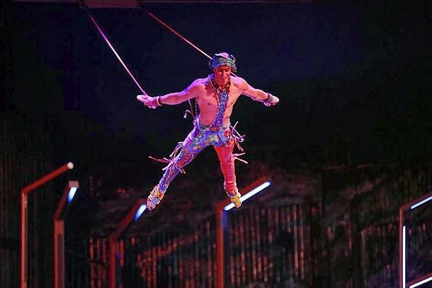 Mr Yann Arnaud, 38, was considered one of Cirque du Soleil's most experienced performers. Media reports said he appeared to lose his grip during an aerial straps routine in the show Volta in Tampa, Florida, last Saturday and fell.