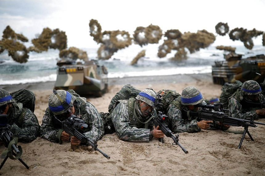 South Korean marines taking part in a US-South Korea joint landing operation drill, in Pohang, South Korea, on April 2, 2017.