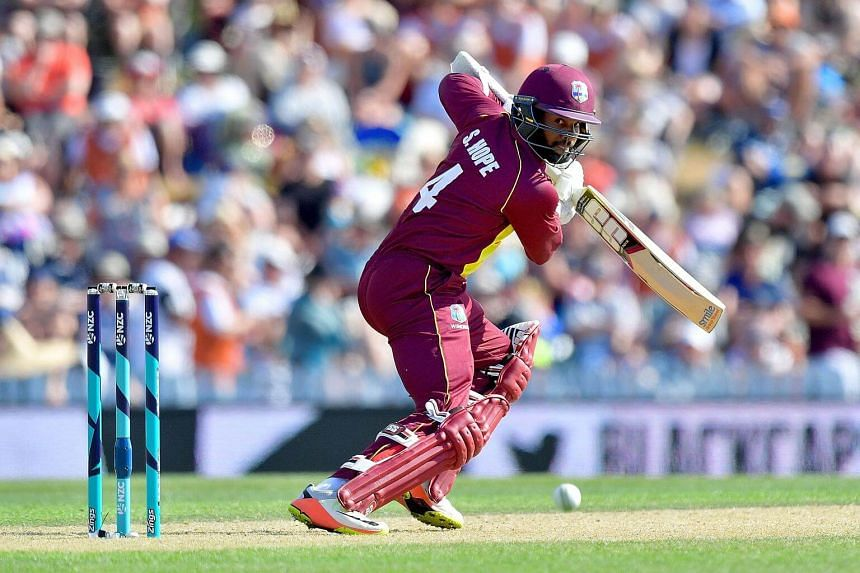 West Indies batsman Shai Hope plays a shot during the first Twenty20 international cricket match between New Zealand and the West Indies at Saxton Oval in Nelson, on Dec 29, 2017.