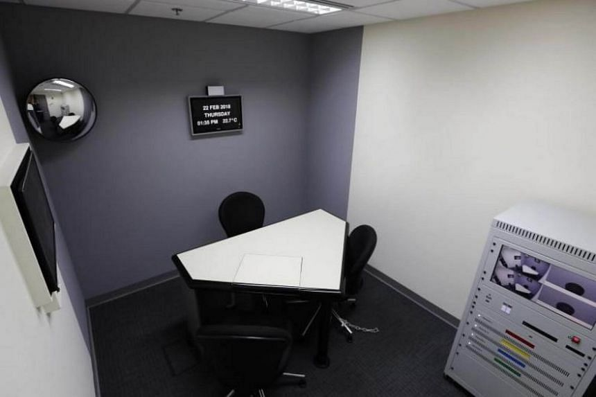 The interview room of the pilot One-Stop Abuse Forensic Examination Centre, set up by the police with the Singapore General Hospital to serve adult rape victims, in the Police Cantonment Complex.
