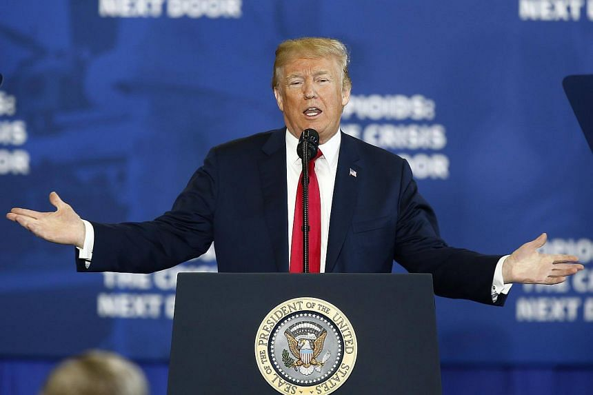 US President Donald Trump delivers an address on his plan for curbing the opioid crisis while at Manchester Community College in Manchester, New Hampshire, US on March 19, 2018.