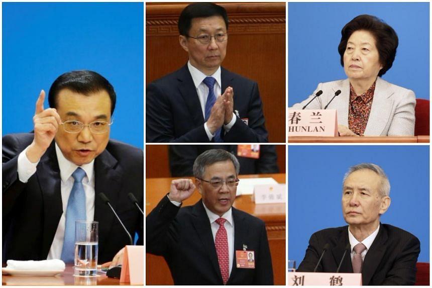 (Clockwise, from left) Premier Li Keqiang, Executive Vice-Premier Han Zheng, Vice-Premier Sun Chunlan, Vice-Premier Liu He and Vice-Premier Hu Chunhua.
