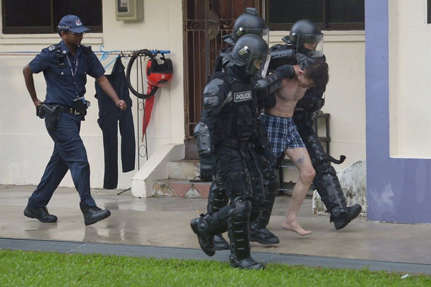 The man was arrested for criminal intimidation and suspected drug-related offences.