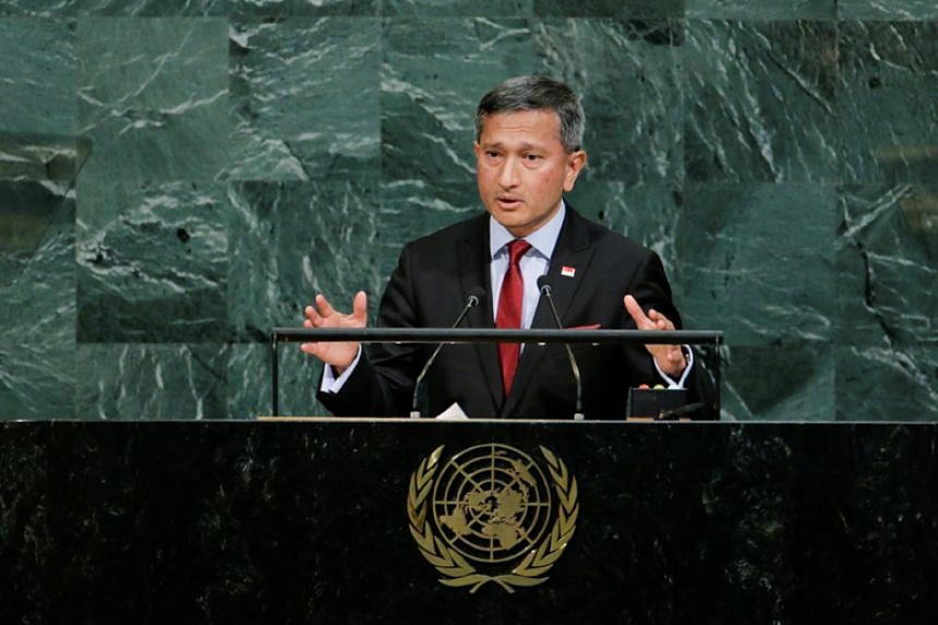 Foreign Minister Vivian Balakrishnan addresses the 72nd United Nations General Assembly at the UN headquarters in New York on Sept 23, 2017.