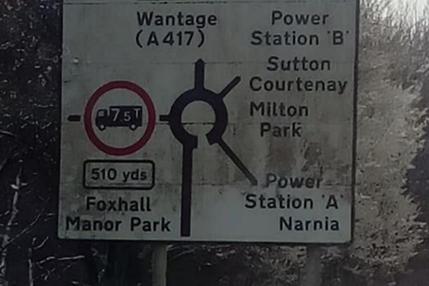 One of some five road signs in the English town of Didcot that saw fictional locations added to them.