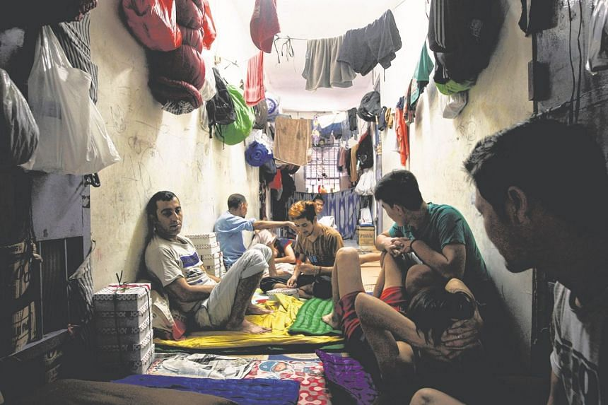 Space is a luxury in the detention centre's overcrowded cells which are at four times their capacity.