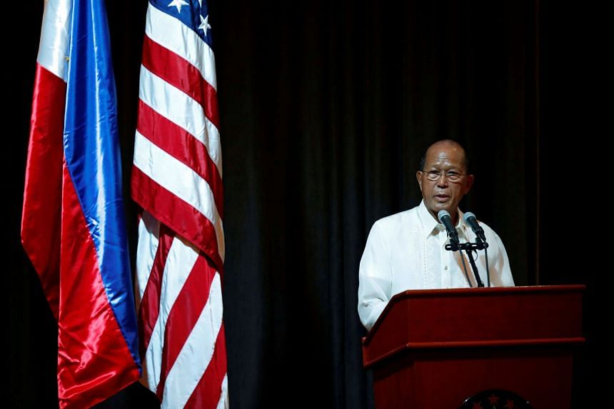 """Philippine Defence Secretary Delfin Lorenzana said his country responds by saying their planes are """"passing over Philippine airspace""""."""