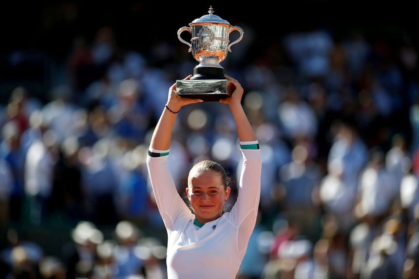 Latvia's Jelena Ostapenko celebrates after winning the French Open in 2017.