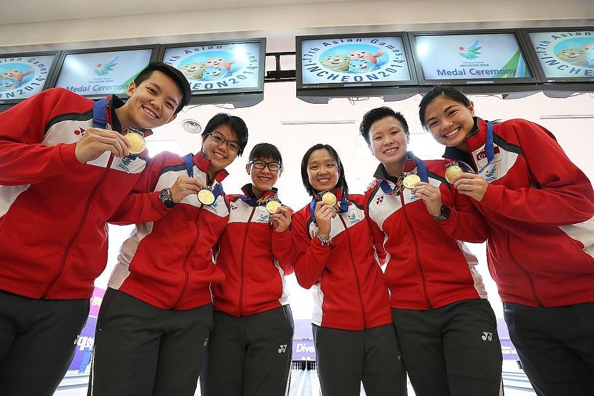 From left: 2014 Asian Games women's team gold medallists Shayna Ng, Cherie Tan, Joey Yeo, Jazreel Tan, New Hui Fen and Daphne Tan have been included in a nine-member training squad for this August's competition in Indonesia.