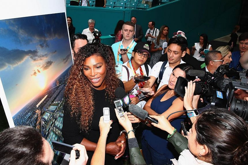 Serena Williams speaking to the media at the Hard Rock Stadium, which will be revamped to be the new home of the Miami Open.