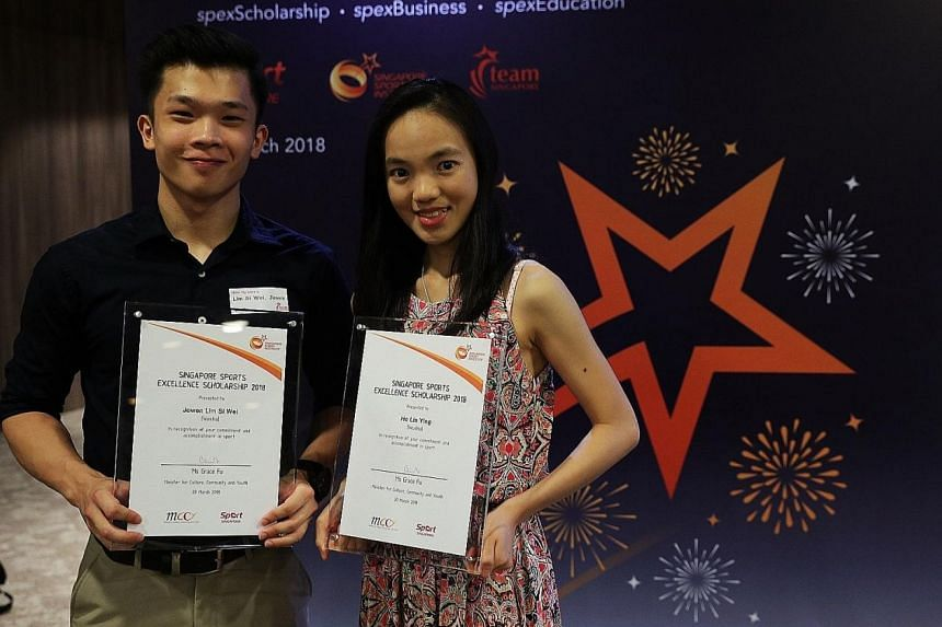 Left: National swimmer Zachary Ian Tan receiving the Sports Excellence (spex) Scholarship from Minister for Culture, Community and Youth Grace Fu yesterday. He was one of 17 new spexScholars announced. Below: Wushu exponents Jowen Lim and Ho Lin Ying