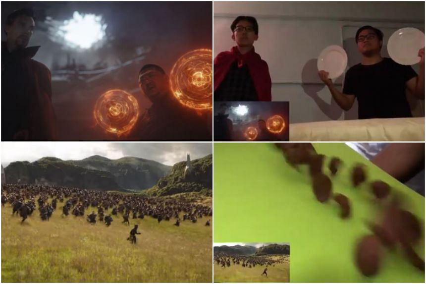 The two-minute-long video recreates each scene in the trailer with low-budget props, often with hilarious results.