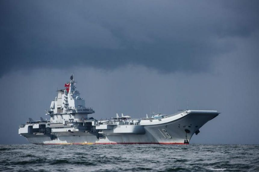 China's sole aircraft carrier, the Liaoning, arriving in Hong Kong waters on July 7, 2017.