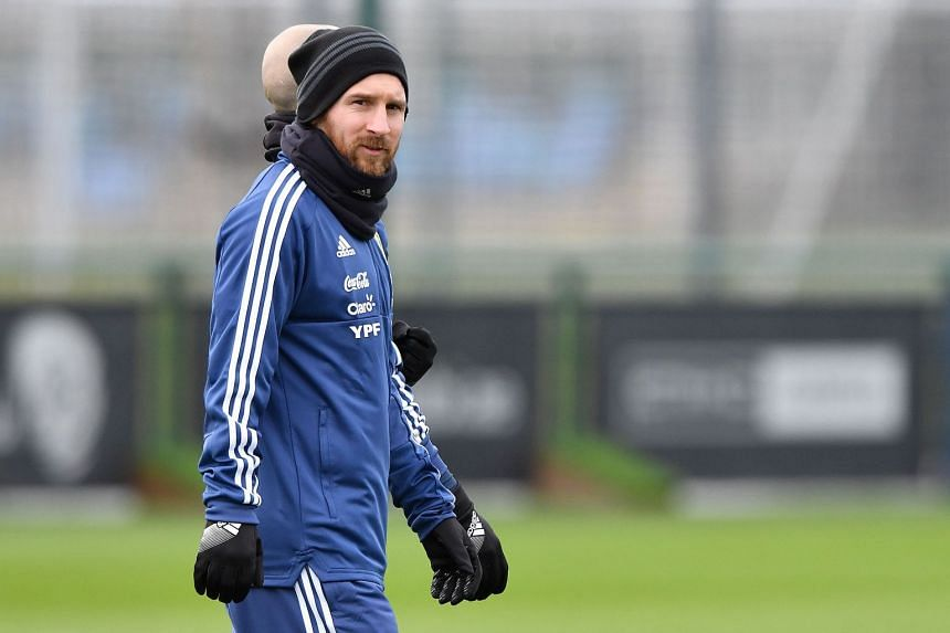 Messi attending a team training session at the City Academy.