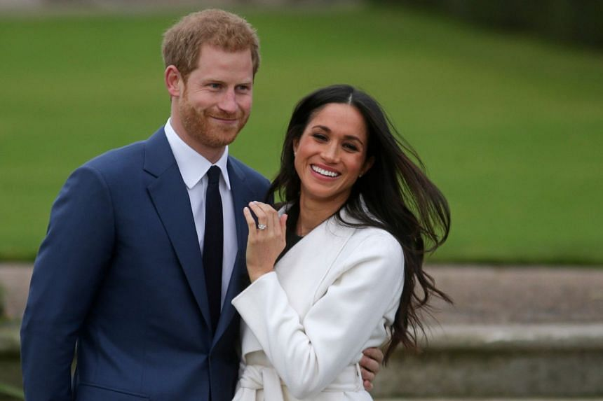 Britain's Prince Harry and fiancee Meghan Markle in November 2017, after announcing their engagement.