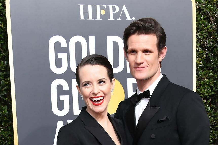 Actors Claire Foy and Matt Smith arriving for the 75th Golden Globe Awards in January 2018.
