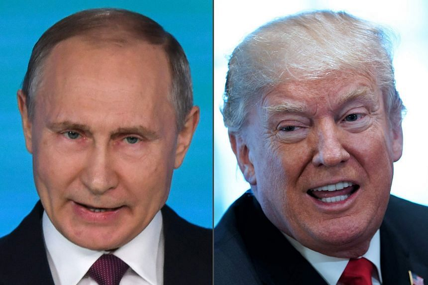US President Donald Trump (right) told reporters at the White House that he had congratulated Vladimir Putin on the electoral victory, while meeting the Saudi Crown Prince.
